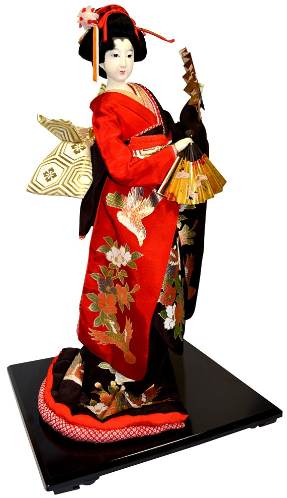 Japanese Traditional Interior Doll With Two Fans Japanese